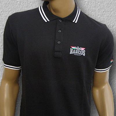 MAGYAR HARCOS galléros póló (fekete)